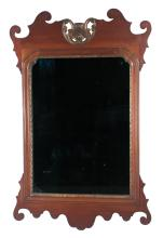Georgian mahogany and gold gilt mirror with broken arch pediment and scroll design at the base, 34