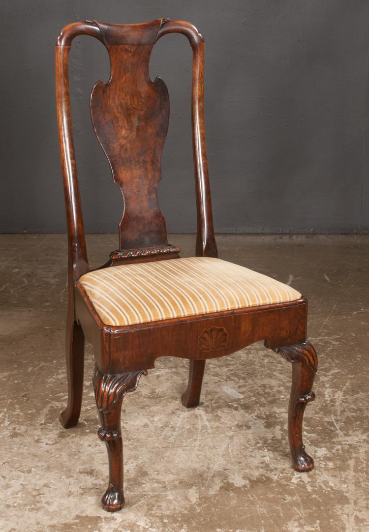 Irish queen anne walnut side chair with scroll carved splat for Furniture northgate