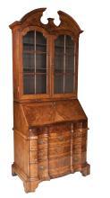 Fine Georgian burl walnut bureau bookcase with arched pediment, mullion glass doors, good step down fitted interior, serpentine shaped base and bracket feet, c.1790, 38