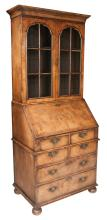 Queen Anne style burl walnut bureau bookcase with mullion glass doors, good fitted interior, four small drawers over two full graduated drawers and on bun feet, c.1860, 30