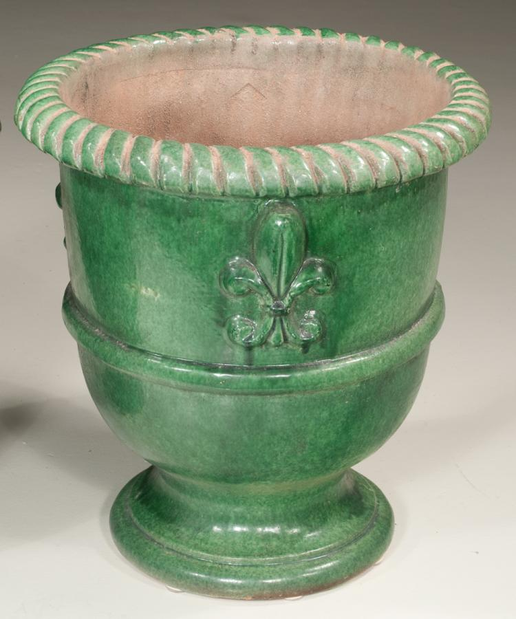 Green Terra Cotta : Pair of green anduze glazed terra cotta garden urns with fle