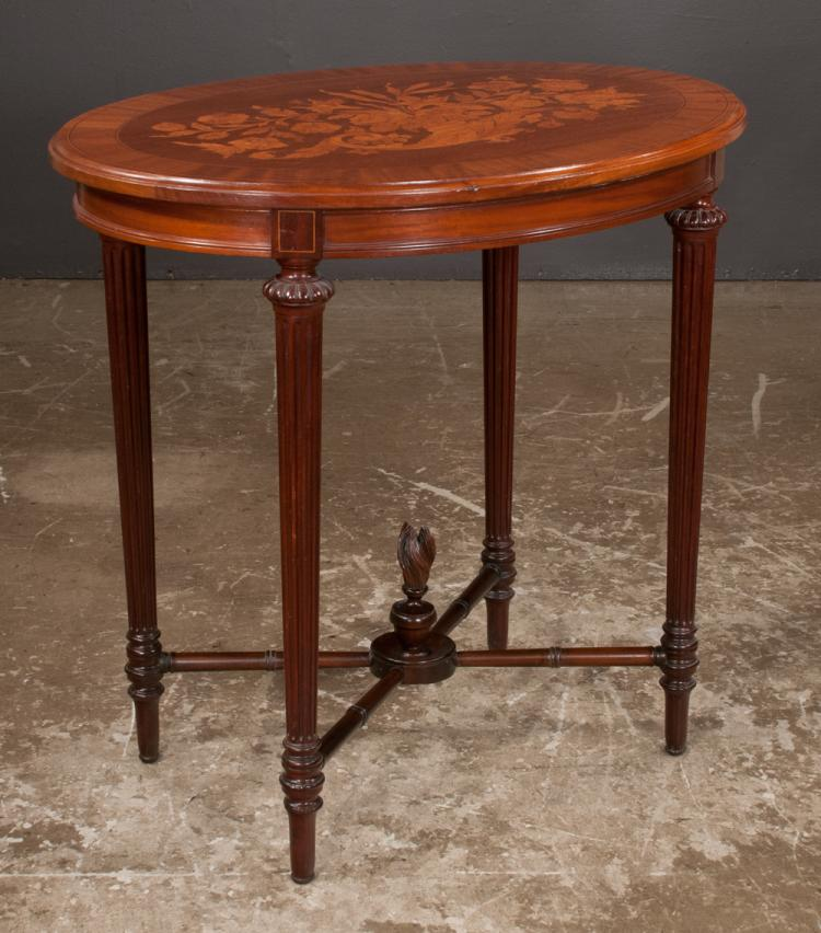 Oval sheraton style mahogany side table with floral marquetr for Furniture northgate