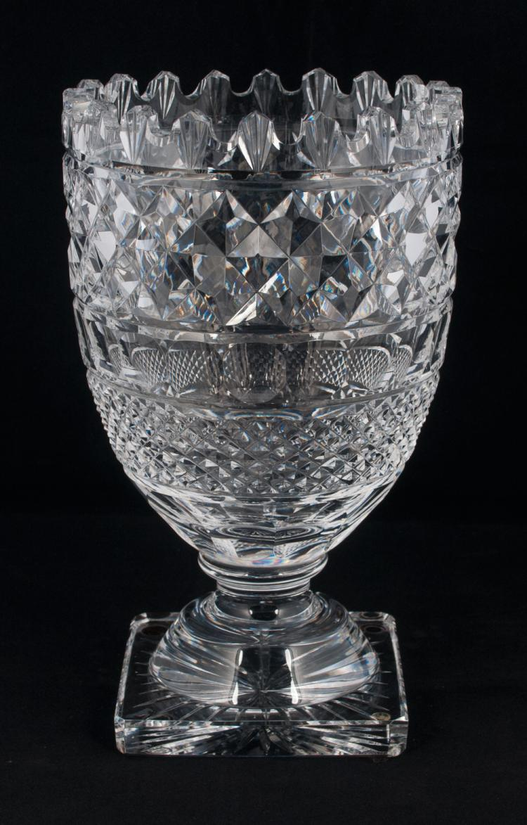 Waterford Cut Crystal Footed Vase With Diamond And Sunburst