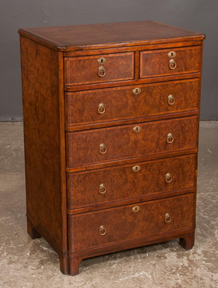 Burl walnut chest having two over four graduated drawers wit for Furniture northgate