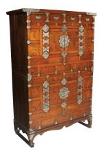 Korean walnut two part document cabinet with metal mounts, shaped apron and shaped bracket feet, c.1900, 38.5