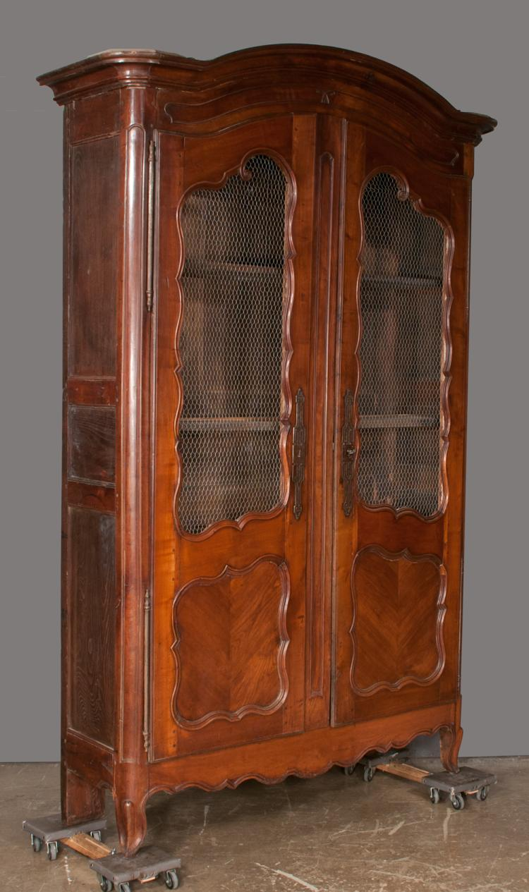 Country french cherry wood armoire with arched top two door