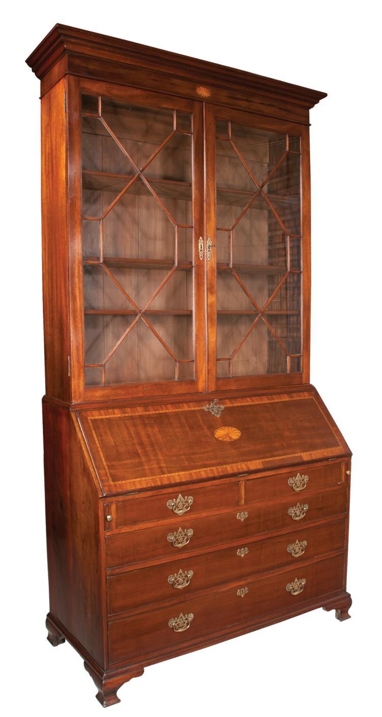 Inlaid georgian mahogany bureau bookcase with 13 pane mullio for Furniture northgate