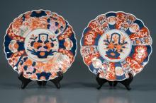 Companion pair of Imari scalloped edge plates having floral center medallions,12