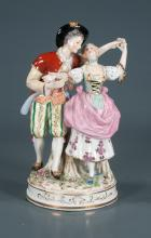 German porcelain figure of a man and lady dancing, 11