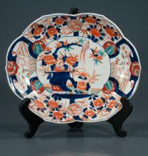 Oval Imari porcelain platter with scalloped edge and cobalt blue, green and bittersweet bird and floral decoration, c.1880, 12