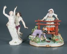 Schumann Dresden porcelain figure with a young lady standing on a wooden bridge and a man below retrieving her shoe from the river, 8