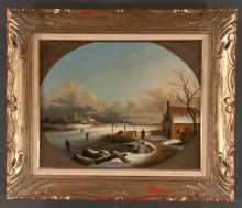 Oil on canvas depicting winter landscape with frozen lake in carved and gilt frame, canvas size, 13