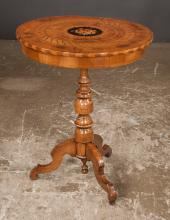 Regency style walnut tripod table with floral and marquetry inlaid top with turned column and inlaid cabriole legs, 24