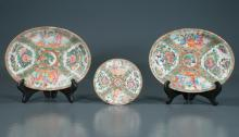 Pair of oval Chinese rose medallion dishes with palace scene, figural, bird and floral decoration 10.5