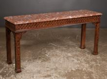 Heneredon Chippendale style mahogany marble top console table with blind fret carved apron and straight legs on Marlborough feet, 57
