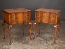 Pair of Queen Anne style walnut block front side tables on cabriole legs with shell carved knees and pad feet, 22