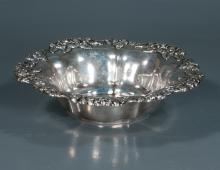 Sterling silver bowl with leaf and floral design with scalloped edge, c.1906, 11