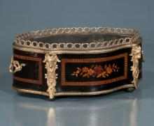 Oval Louis XVI bronze mounted planter with marquetry inlay and pierced bronze gallery, 15