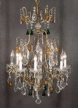 Louis XV style bronze eight light chandelier with crystal prisms, 22
