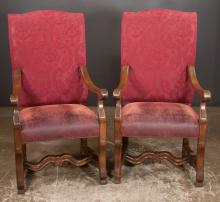 Pair of country French style open armchairs with upholstered backs and seats and carved arms, 24