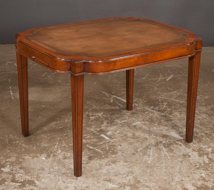 Sheraton style mahogany coffee table with inset tooled leath for Furniture northgate