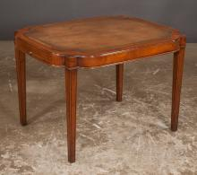 Sheraton style mahogany coffee table with inset tooled leather top, pull out slides on each end and on square tapered legs, 32
