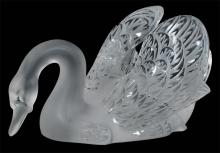 Lalique crystal swan with impressed feathers on wings and tail with frosted glass body and head and polished glass feather highlights, signed Lalique France, 14