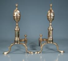 Pair of American brass andirons with urn shaped tops and acorn finials, 18.5