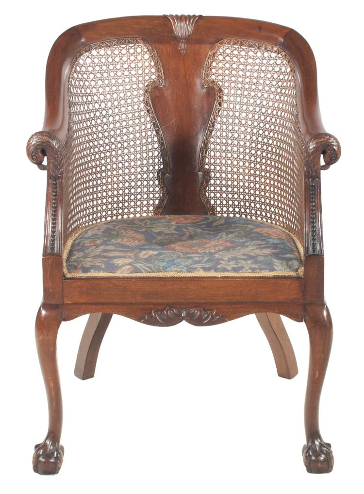 chippendale style mahogany barrel back armchair with eagle h