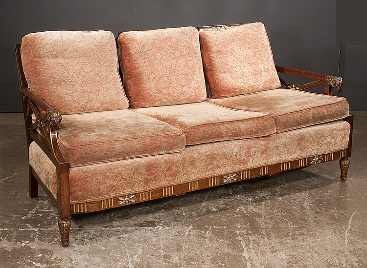 Empire style suite with sofa with leaf carved back ram 39 s he for Furniture northgate