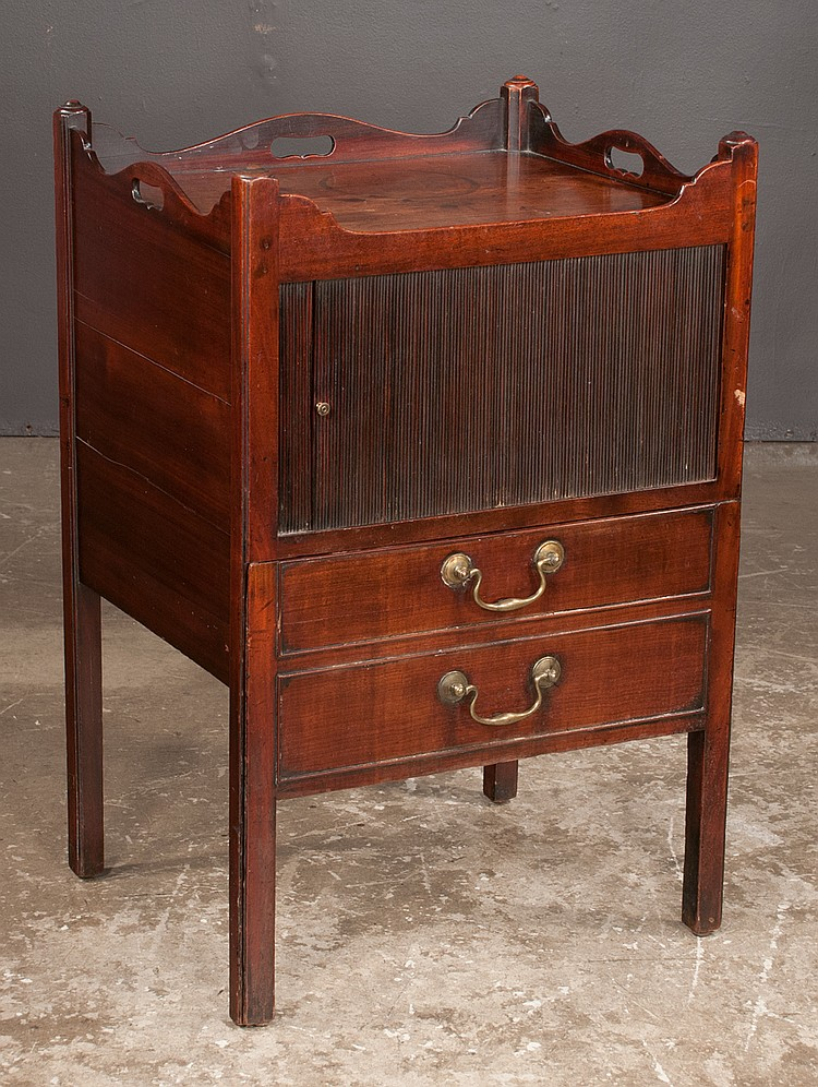 Chippendale mahogany tray top commode with tambour door over for Furniture northgate