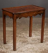 Chippendale mahogany tea table with dish top, scalloped apron and straight legs, c.1800, 30