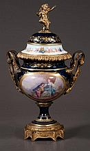 Cobalt blue and gold bronze mounted French porcelain urn with scenic and figural decoration, c.1890, 15