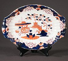 English oval Hobson china dish with floral decoration, 13