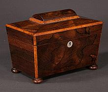 Sheraton rosewood tea caddy with good fitted interior and cut glass mixing bowl, c.1880, 10