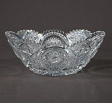 Oval cut glass fruit bowl with star burst cut design and scalloped top, c.1920, 11
