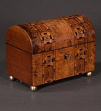 Sheraton dome top burl walnut tea caddy with parquetry inlay and fitted interior, c.1890, 8