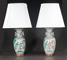 Pair of Chinese porcelain vases with scenic, figural and floral decoration, c.1880, adapted as lamps with shades, 34