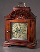 Mahogany mantle clock by Molyneux with brass engraved dial, 12