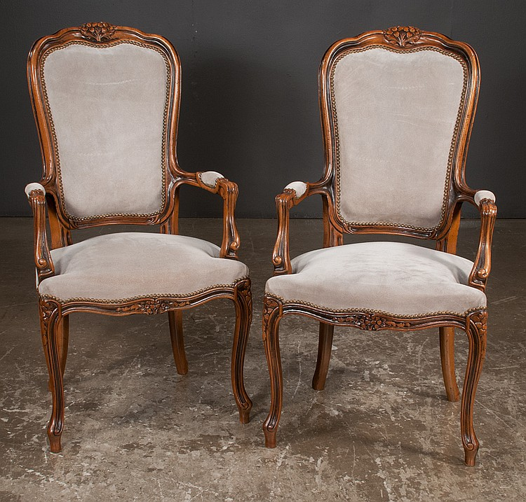 Set of four louis xv style fruitwood fauteuils with floral c for Furniture northgate