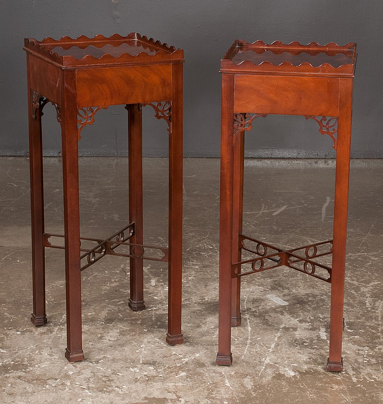 Pair of chippendale style mahogany kettle stands with scallo for Furniture northgate