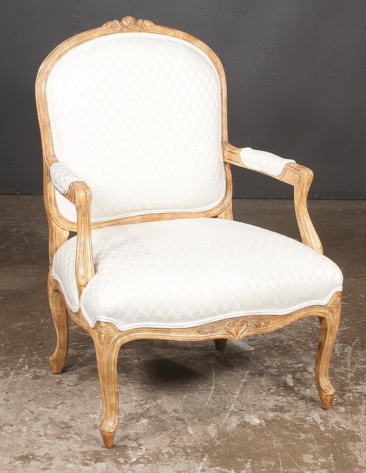 Louis xv style fruit wood fauteuil with carved back shaped for Furniture northgate