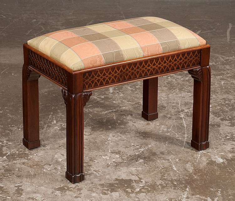 Chippendale style mahogany stool with blind fret carved apro for Furniture northgate
