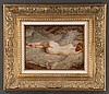 "Oil painting on wood panel of a reclining nude woman, signed N. Bingham, panel size 12"" high, N. Henry Bingham, Click for value"
