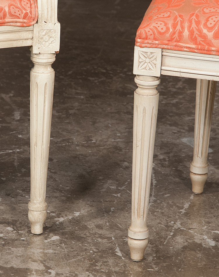 Set Of Eight Louis Xvi Style Upholstered Dining Chairs On Tapered