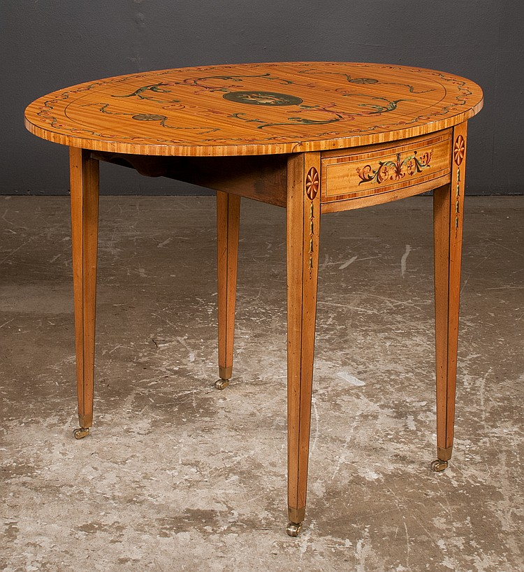 Sheraton style satinwood pembroke table with kaufmann style for Furniture northgate