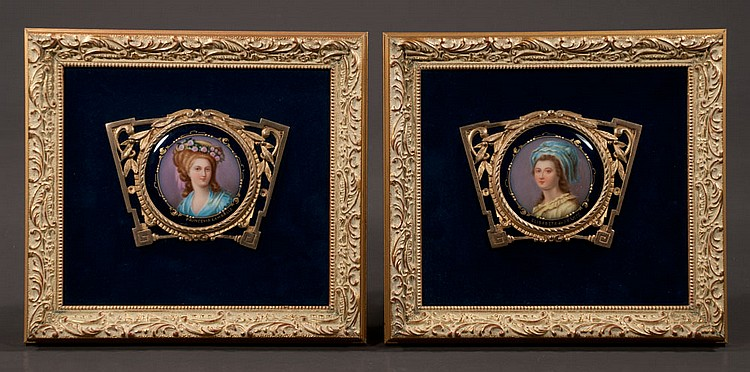 Pair of miniature paintings on porcelain in bronze filigree frames and mounted on dark blue velvet mats in a gold gilt frames,