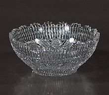 American Brilliant period cut glass bowl with star burst design and scalloped top, c.1920, 10