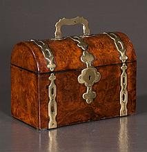 Dome top burl walnut tea caddy with brass mounts and fitted interior, c.1880, 8.5