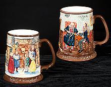 Pair of Royal Doulton tankard mugs, one